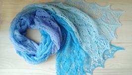 Мериносовый голубой вязаный шарф, палантин