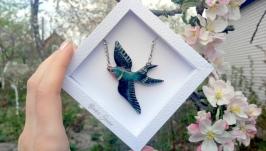 Кулон Ласточка ′Сейлим′ подвеска птичка авторское украшение на шею подарок