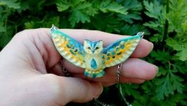Кулон сова ′Мейрин′ подвеска птичка авторское украшение на шею подарок