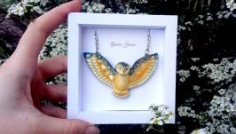 Кулон совушка ′Рали′ подвеска сова авторское украшение на шею подарок