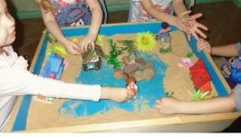 Песочница детская деревянная домашняя для песочной терапии  (с крышкой)