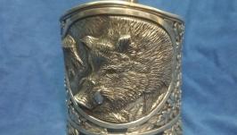 серебряный подстаканник′кабан′