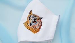 Хлопковая маска многоразовая с вышивкой филин