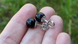 Серьги серебро с черным агатом