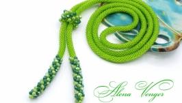 Лариат ′Весна′ галстук жгут хрусталь зеленый салатовый