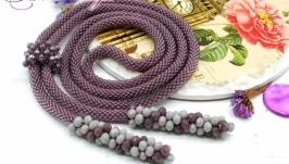 Лариат ′Лавандовый′ галстук жгут хрусталь сиреневый лиловый
