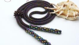 Лариат ′Павлин′ галстук жгут хрусталь сиреневый зеленый фиолетовый
