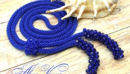 Лариат ′Сапфир′ галстук жгут хрусталь синий