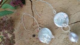 Серебряные асимметричные серьги с барочным жемчугом ′Облака′