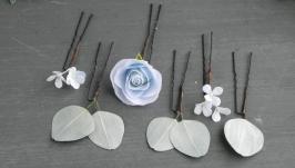 Шпильки для волос с розовыми цветами, ягодами и зелеными листьями
