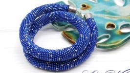 Жгут ′Сапфир′ серебро синий матовый