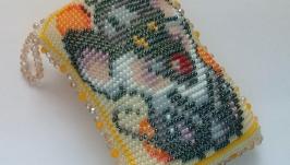 Подушка игольница Мышка, вязание с бисером.