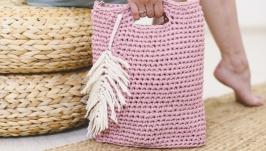Yarn Bag with Wooden Bottom