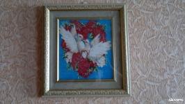 Картина ′Белые голуби′  бисер.
