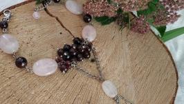 Слейв-браслет из граната и розового кварца ′Флоренция′