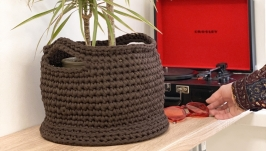 Recycled Keg Basket with Wooden Bottom