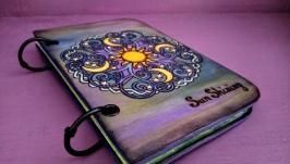Деревянный блокнот с мандалой ′Sun  moon′
