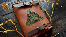Шкіряний блокнот Книга тіней з кельтським трискеліоном (коричневий)
