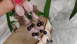Серьги-грозди из граната и розового кварца ′Гиацинт′