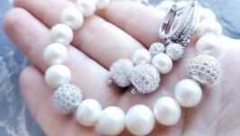 Комплект з натуральних перлів браслет з великих перлин та сережки