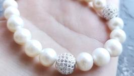 Браслет з натуральних великих білих перлів та кристалів