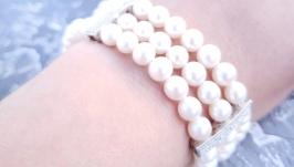 Браслет з натуральних перлів інкрустований кристалами циркону