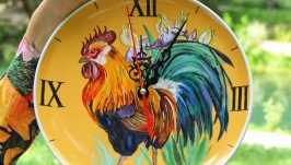 Часы керамические настенные, часы на кухню с петухом, часы на подарок