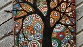 Блокнот из дерева 22х22см ′Цветные сны-2′