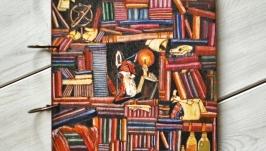 Блокнот из дерева А4 ′Лис в библиотеке′