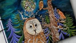 Блокнот из дерева А4 ′Совы в ночном лесу′