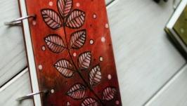 Блокнот из дерева А6 ′Веточка красная′