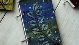 Блокнот из дерева А6 ′Веточка синяя′
