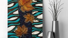 Картина на дереве 40х30см ′Танцует сладкий октябрь′