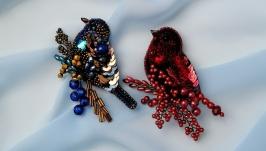 Набор - брошь красная и синяя птица ручная работа