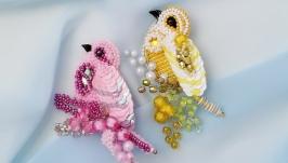 Набор - брошь розовая и желтая птица ручная работа