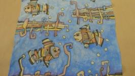 Шарф ′Рыбы и крючки′,шёлк, батик