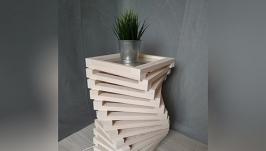 Дизайнерская тумба – светильник из дерева Twist White