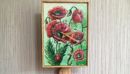 Vintage Soviet Wall Clock Working Clock ′CAT′ with Author′s Painting