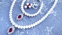 Комплект з натуральних перлів кольє браслет сережки з кристалами циркону