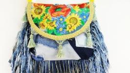 Джинсовая сумка с вышивкой и бахромой Бохо сумка Украинская вышивка