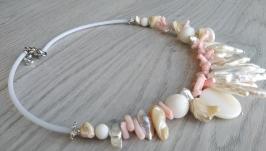 Колье ′Барочный жемчуг и кораллы′