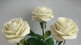 Букет белых роз из холодного фарфора. Ручная работа.