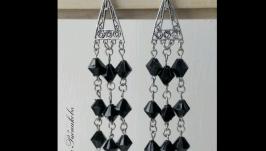 Серебристые серьги длинные из бусин Лучший подарок