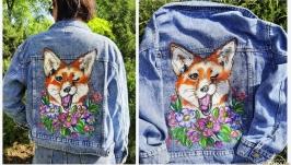 тут изображено Ручная роспись Вашей джинсовой куртки с любым рисунком