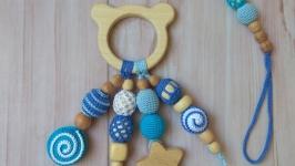 Набор для мальчика, грызунок прорезыватель и держатель, деревянная игрушка