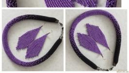 Комплект ′ фиолетовое сияние′ - жгут и сережки