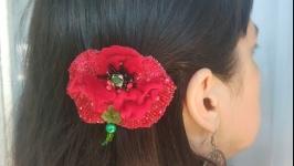 Заколка для волосся червоний мак