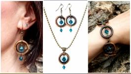 Комплект прикрас, Сережки браслет підвіска ′Блакитний океан′