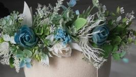Вінок  на голову в блакитних тонах. Венок с цветами