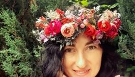 Вінок  на голову в червоних та фіолетових. Венок с цветами
